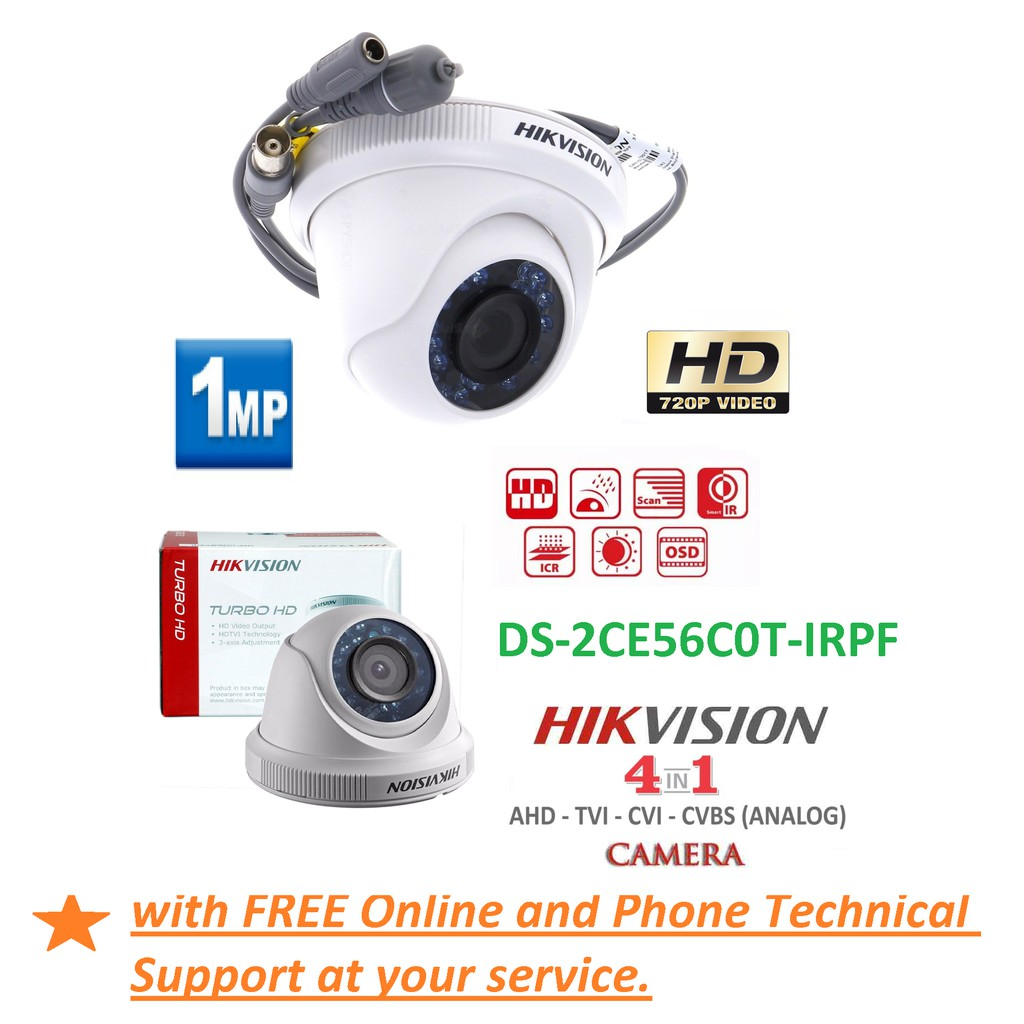 HIKVISION DS-2CE56C0T-IRPF(2 8) 1MP Dome HDTVI CCTV Camera