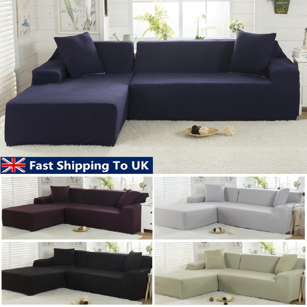 Elastic Fabric Sofa Cover Sectional/Corner Couch Covers Fit