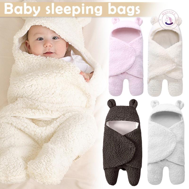 Newborn Baby Sleeping Bag Swaddle Bat Hooded Bag Boys Girls Cotton Receiving Blanket Wrap Stroller Sack for Infant Photography Props Bath Towel