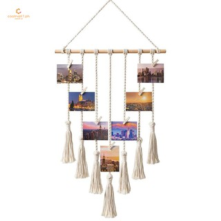 Black LATT Hanging Photo Display Picture Frame Macrame Wall Decor Hanging Pictures Organizer for Wall Bedroom Home Decoration 25 Wood Clips