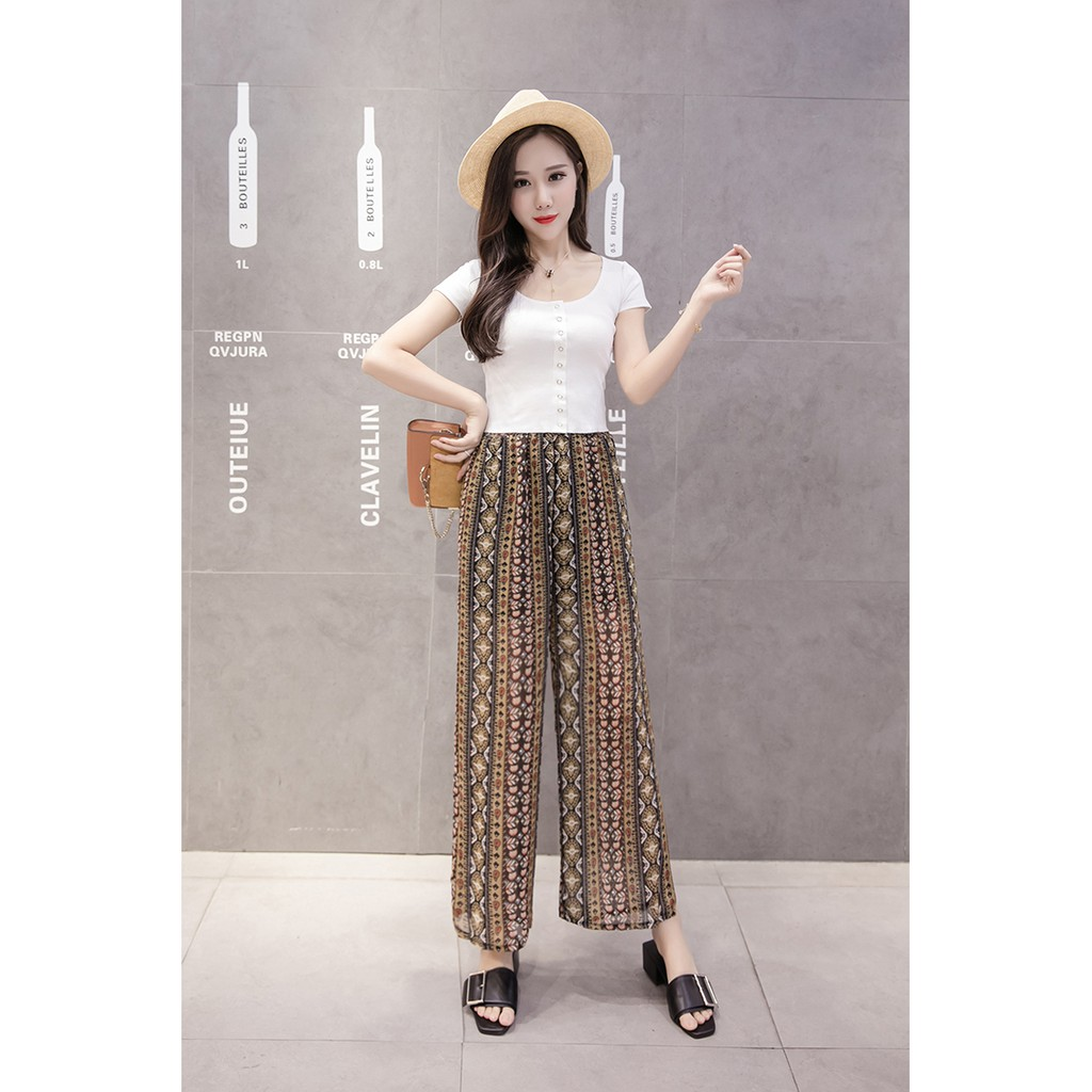 f7ac4da1057f1 WX NEW Korean Woman long plain square pants high chiffon nice and  comfortable