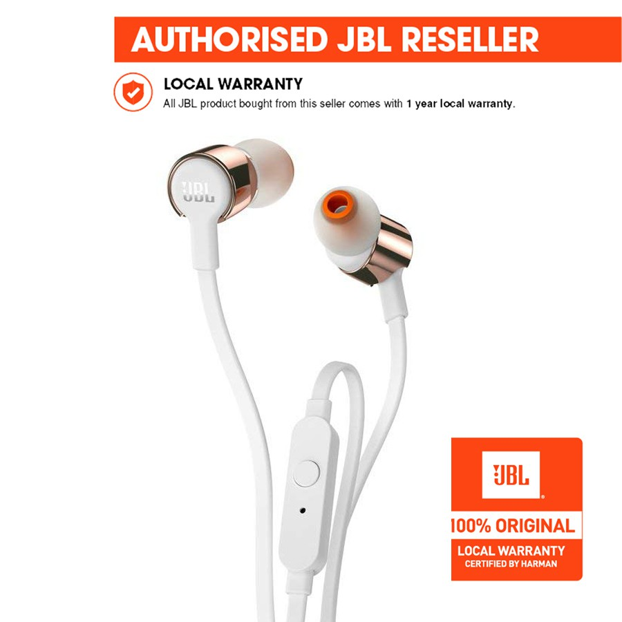 abca9a391f9 JBL T205 Earbud Headphones (Rose Gold) | Shopee Philippines