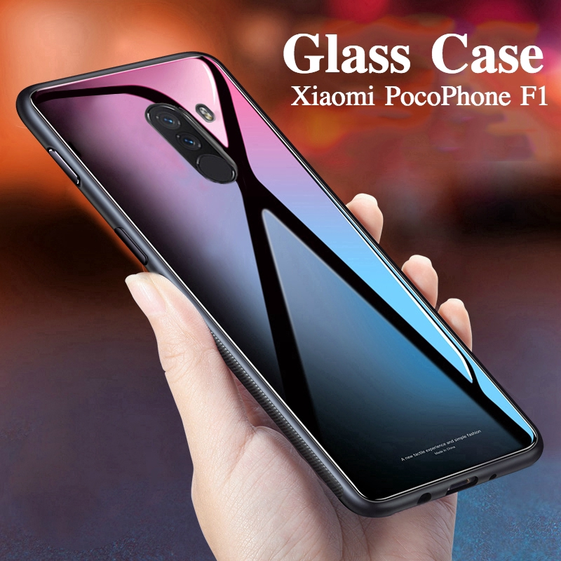 sale retailer b3041 32d77 PocoPhone F1 Tempered Glass Case cover Soft Frame protection