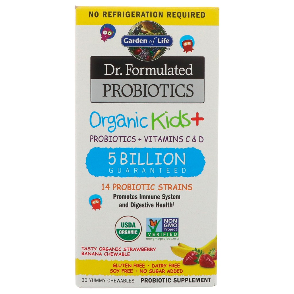 Garden of Life, Dr  Formulated Probiotics Organic Kids+, Probiotics +  Vitamins C & D, 30 Chewables