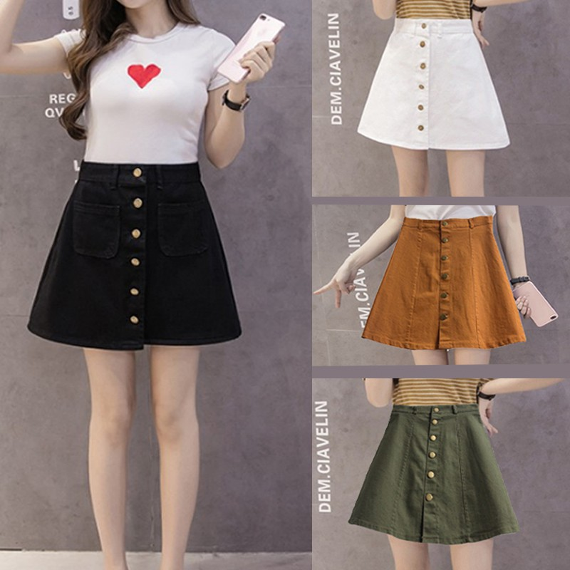 40856fb014 H&M-inspired Button Down Denim High waist Skirt Black White | Shopee  Philippines