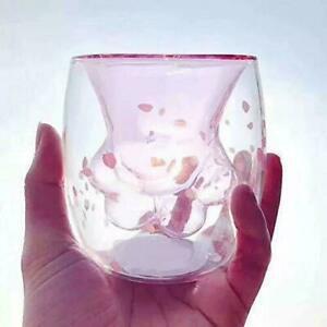 New China Starbucks 2020 Sakura Cat Paw Double Wall Glass Cup 300ml