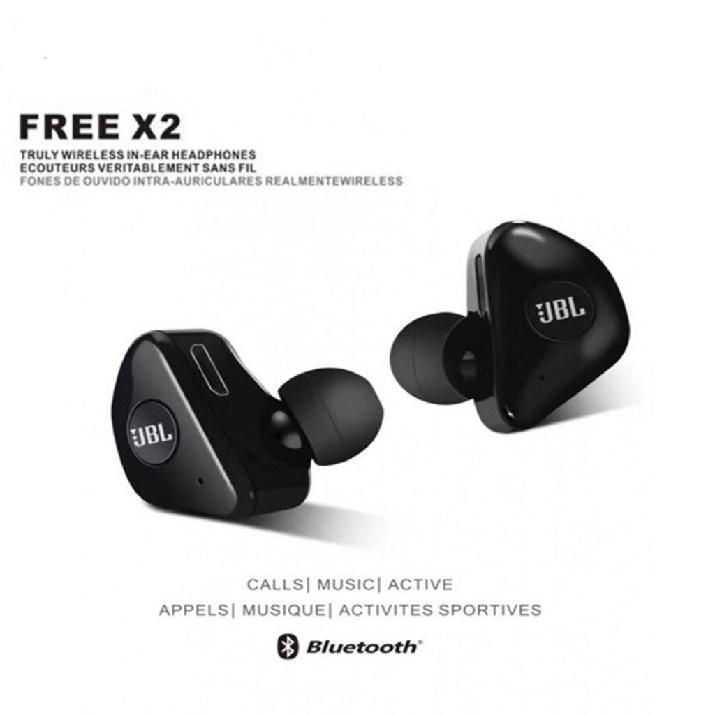 Jbl Free X2 Binaural Call Wireless Bluetooth Headset With Headset Pouch Shopee Philippines