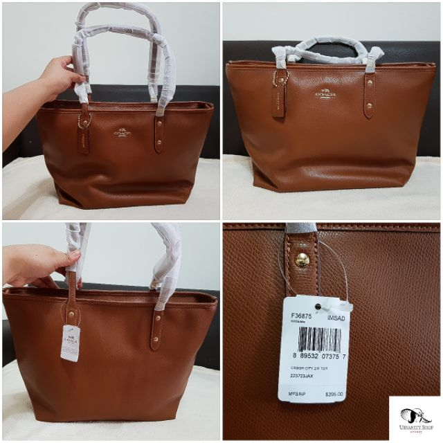 f08430ac0f ORIGINAL COACH CITY ZIP TOTE IN CROSSGRAIN LEATHER | F36875 | Shopee  Philippines