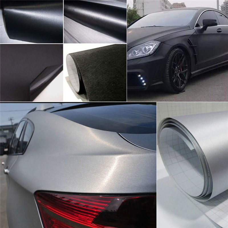 *Gray Brushed Aluminum Vinyl Film Wrap Sticker Decal Bubble Free Air Release DIY