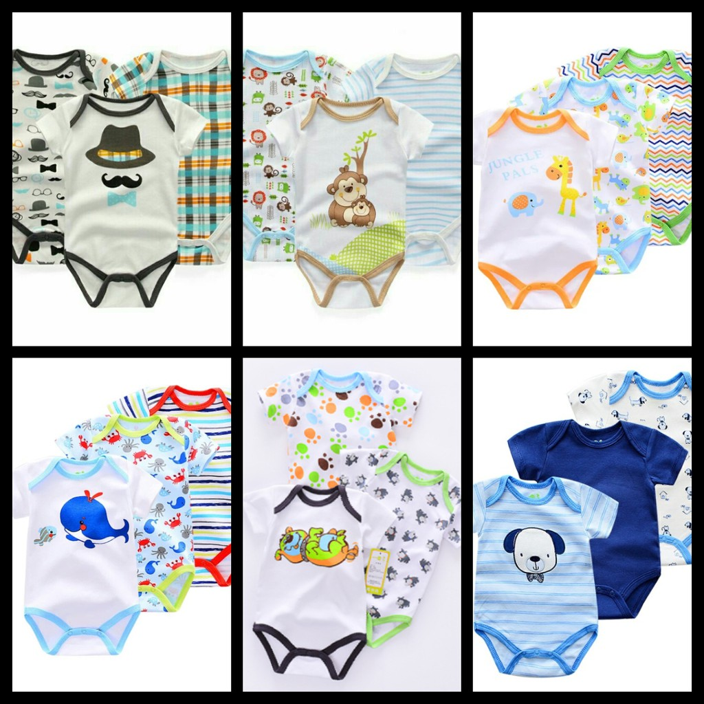 3 Pieces Baby Onesies Set Baby Boy Newborn Romper Shopee