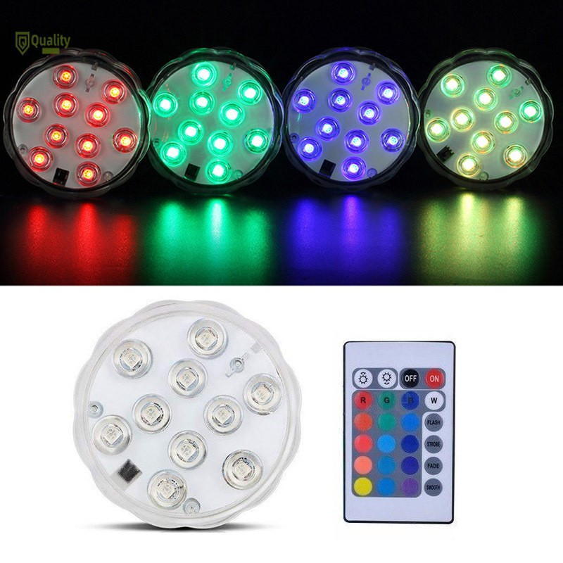 1//2//4//10x 10LEDs RGB Submersible Pond Light With Remote Control Hot Tub SPA Lamp