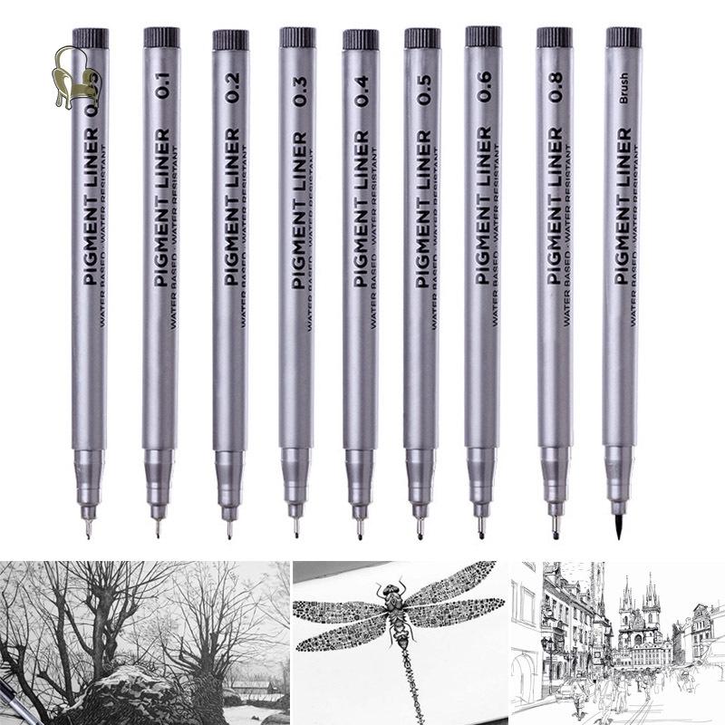 Brush STA Fine Liner Pen Pigment Marker Waterproof Black Ink 0.8mm 0.05mm