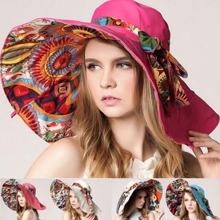 ✡MT✡ Women Straw Sun Hat Wide Brim Bowknot Decor Bucket