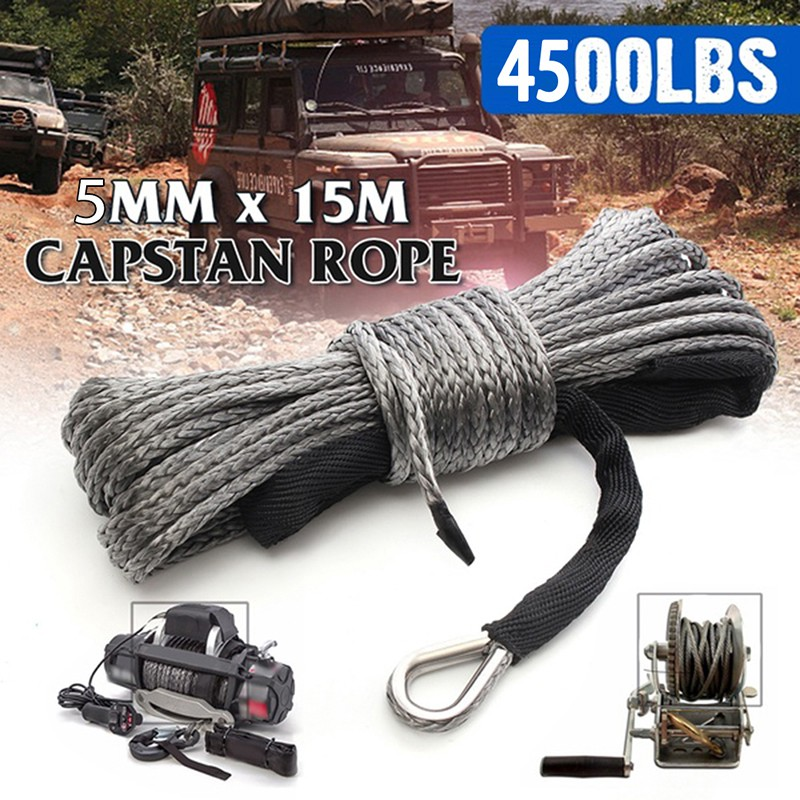 3//16/'/' x 50/' 4500LBs Synthetic Winch Line Cable Rope With Sheath ATV UTV Gray FM