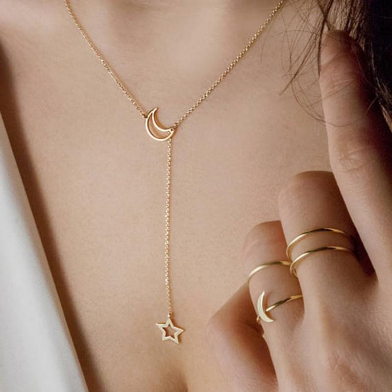 Royal Women Moon Star Chain Jewelry Long Pendant Simple