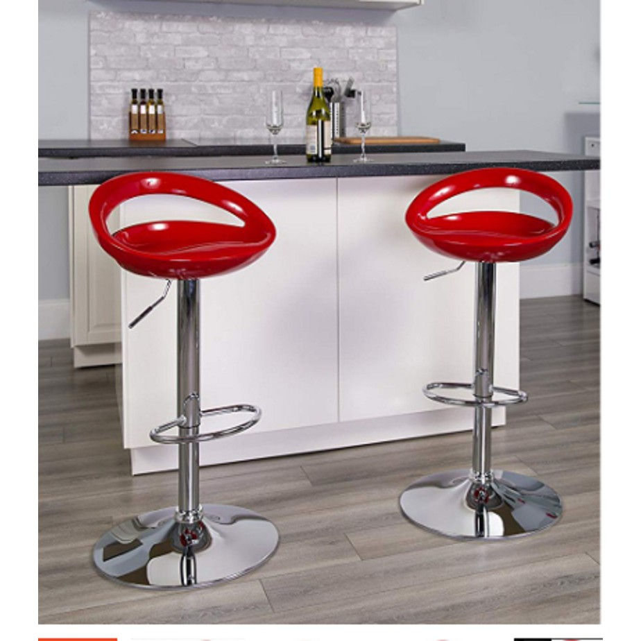 Swizzle Gloss Finish Crescent Shape Adjustable Swivel Bar Stool Chair  Kitchen Counter Top Red