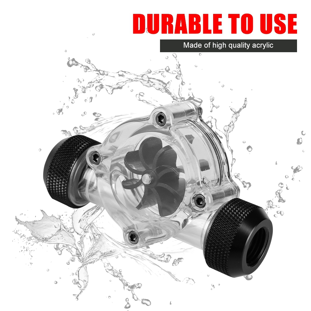 Flow Indicator Practical Durable G1//4 Thread Port Female to Female Flow Meter Indicator for Pc Water Cooling 8 Impellers Black