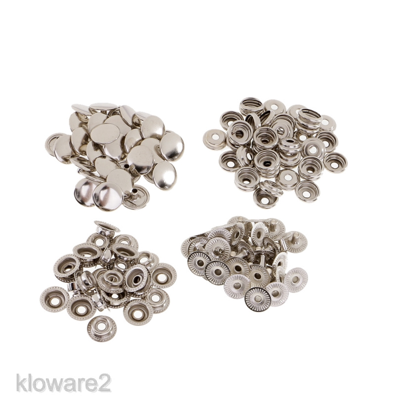 30 Sets Metal Snap Fasteners Poppers Press Stud Sewing Leather Button DIY Craft