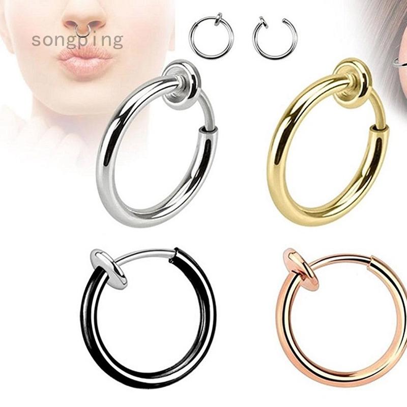 2pcs Retractable Earrings No Need Piercing Hip Hop Style Hoop Earrings Nose Ring Lip Ear Clip Body Shopee Philippines