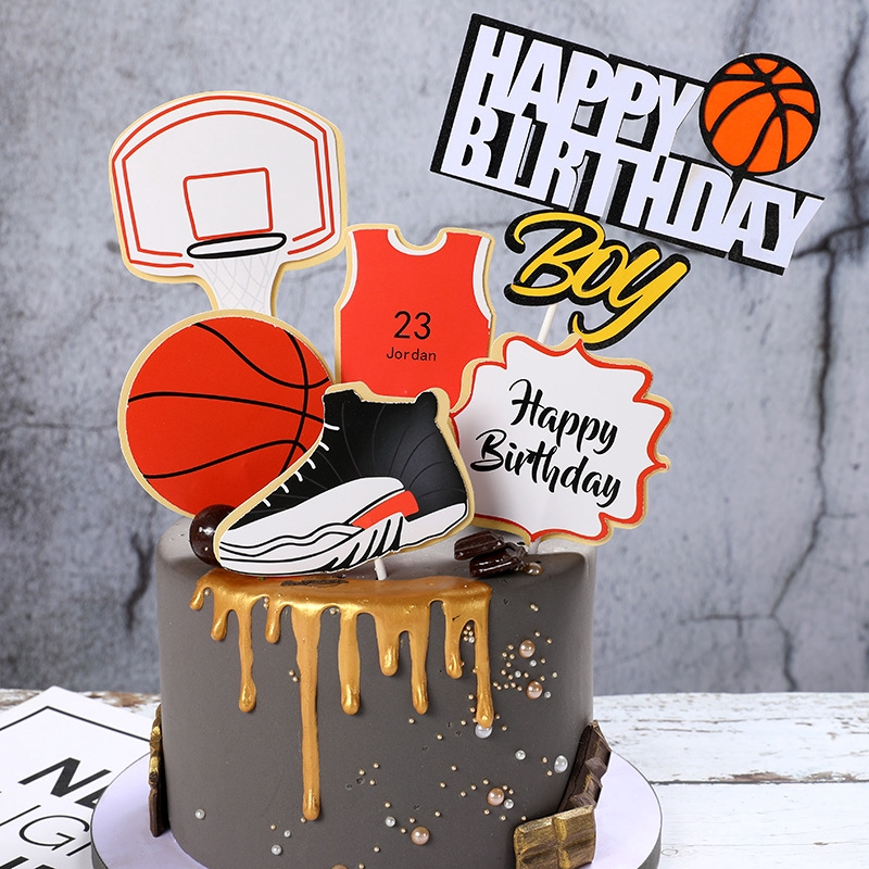 Ready Stock Sports Theme Nba Basketball Football Sneakers Happy Birthday Cake Topper Party Decoration Shopee Philippines
