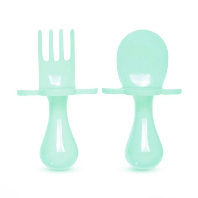 Self Feeding Spoon and Fork Set Teal