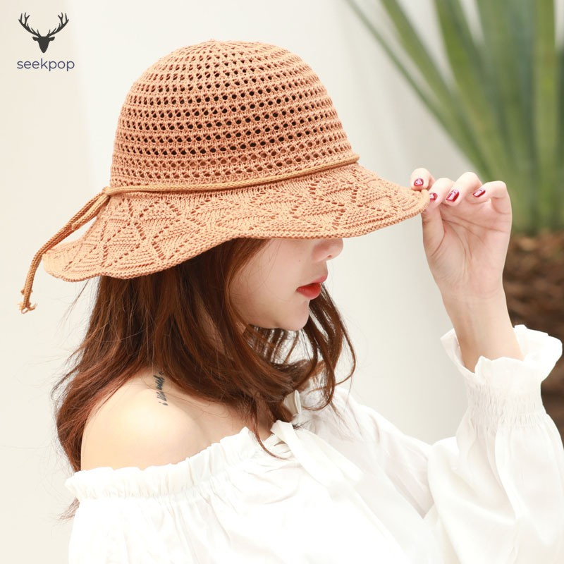 f0d46341e Women Sun Protective Hat Cotton Knitted Foldable Soft Breathable Beach Cap  for Outdoor