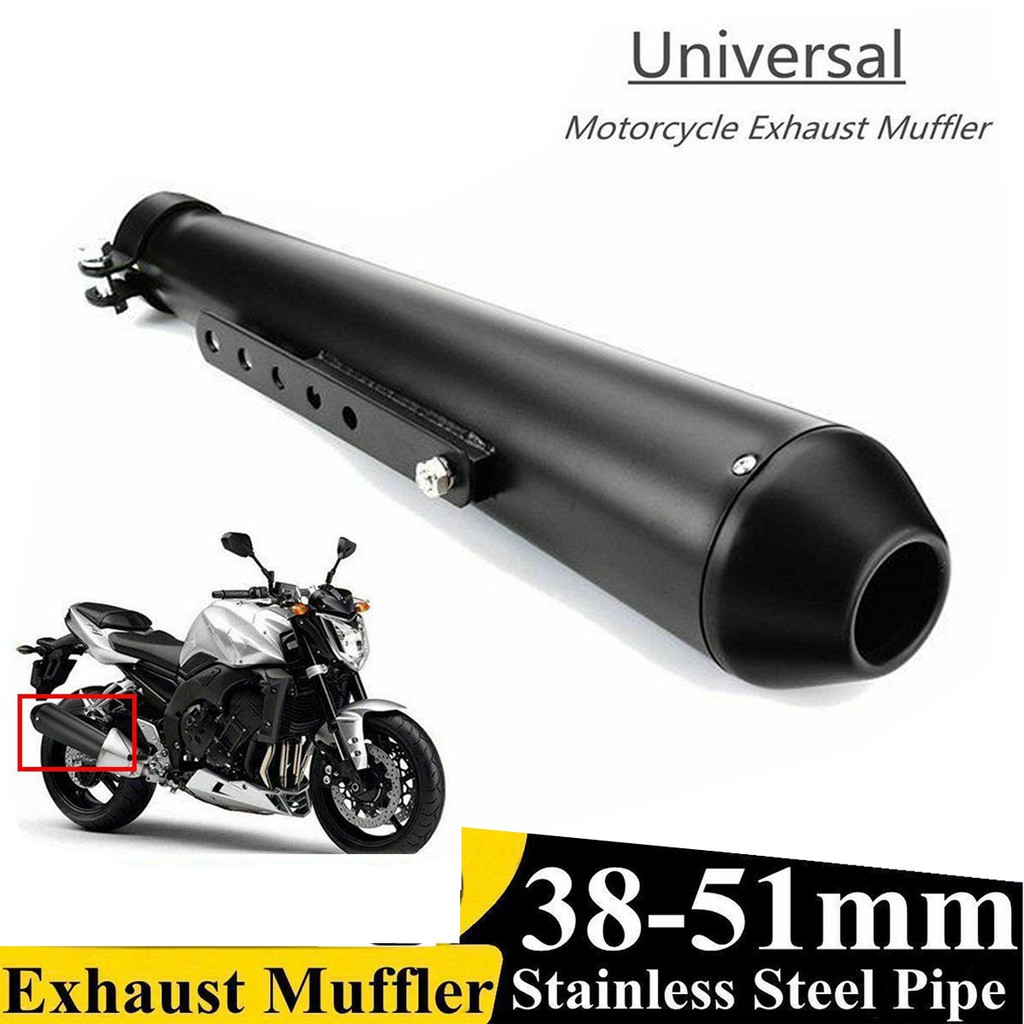 Motorcycle Exhaust Pipes 17 5 Motorcycle Cafe Racer Exhaust Muffler Pipe Silencer Bracket Matte Shopee Philippines