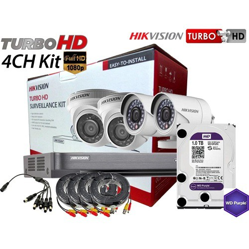 Hikvision 2MP 1080P 4 Channel 1TB HDD Turbo HDTVI CCTV Combo