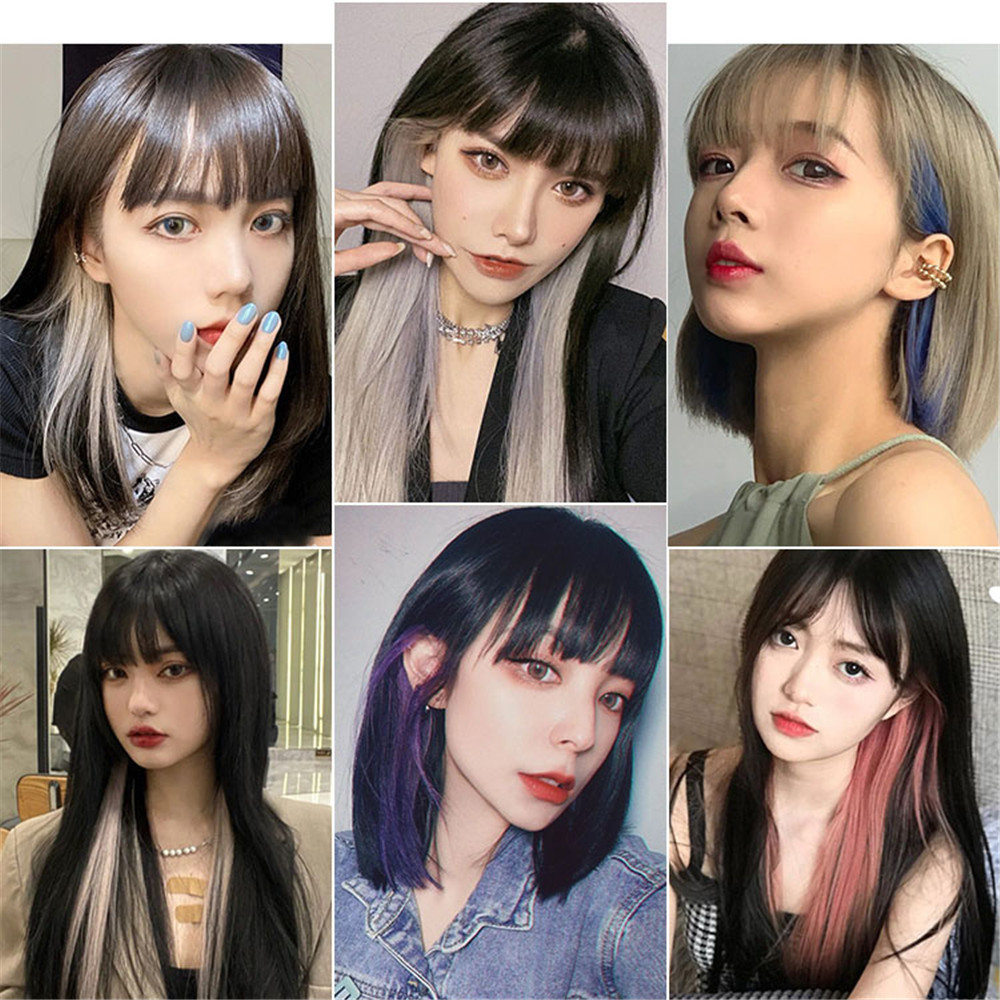New Color Hang Ear One Piece Style Highlights Imitate Straight Hair Dye Wig  for Women