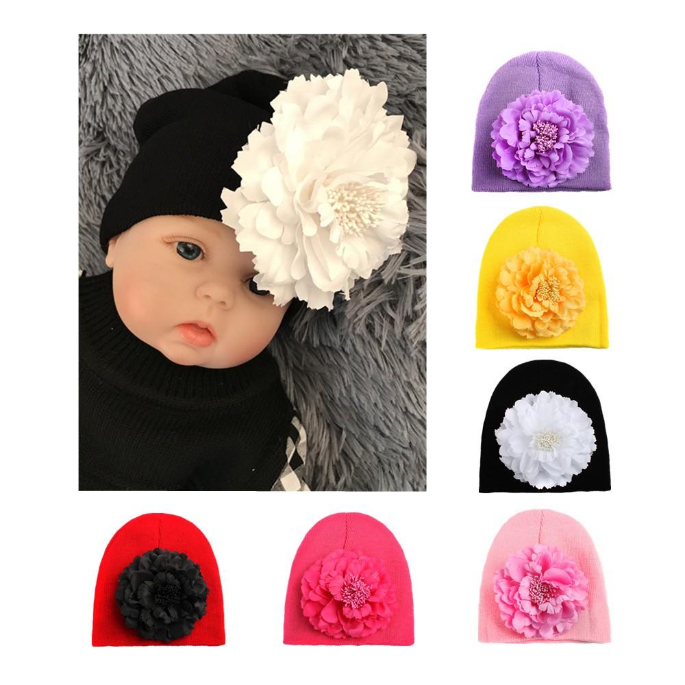 444e2de88df3 ☀Uni-Cute Baby Kids Girls Warm Knitted Hat Big Flower