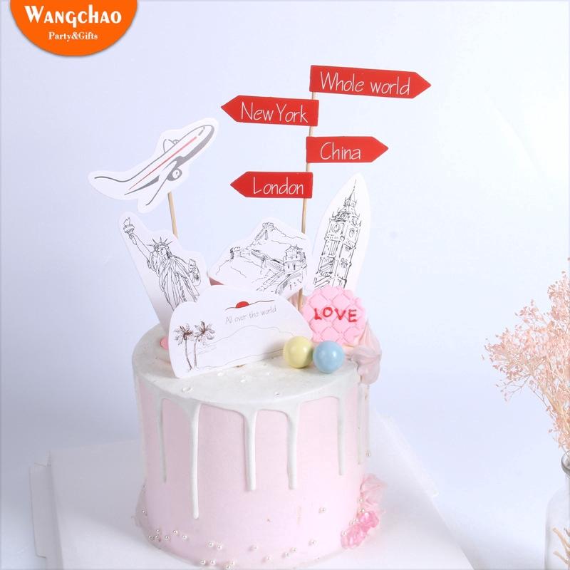 Amazing Im Going To Travel Theme Cake Topper Happy Birthday Cake Birthday Cards Printable Giouspongecafe Filternl