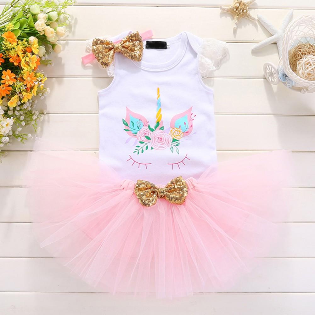 a8555c210 Baby Girls 1st Birthday Romper Tutu Skirt Headband Outfits | Shopee  Philippines