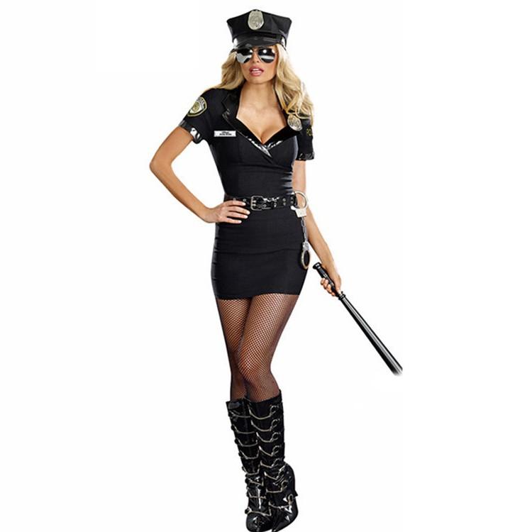 Ladies Black Cops Police Uniform Halloween Party Fancy Dress Costume Outfit
