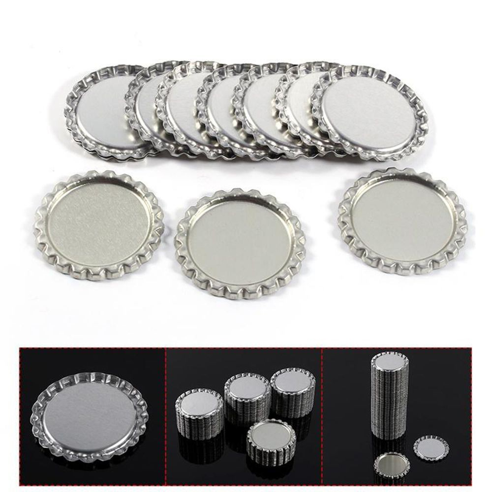 100 1 inch linerless Silver Chrome Bottle Caps /& 100 3D Epoxy Dome Stickers