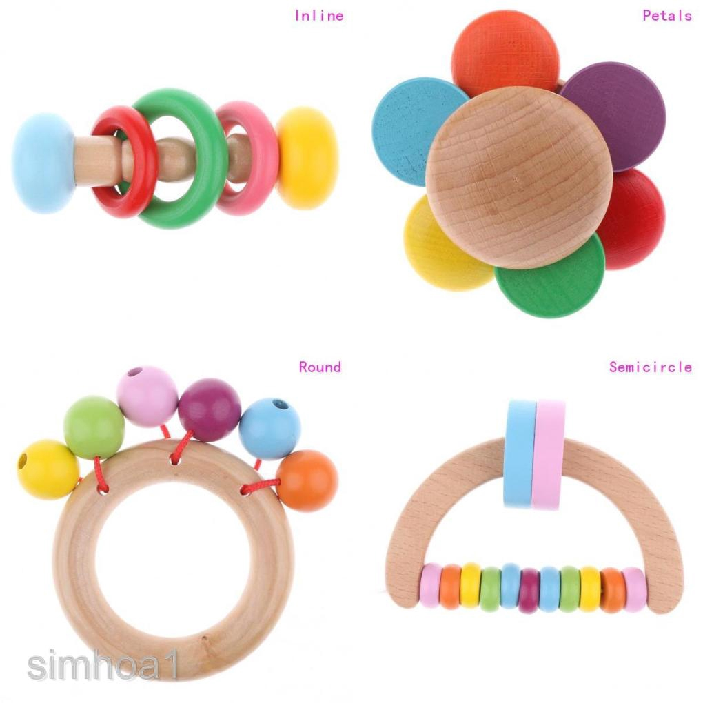 Petals Montessori Style Infant Toy Wooden Baby Rattle Clutching Toys
