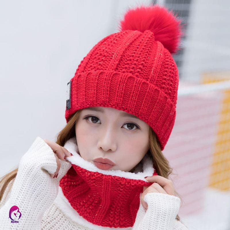 e9fbd51c1f ♦♦ Women Winter Knitted Thickened Beanie Cap Scarf Bonnet Warm Hairball  Baggy Winter Hat