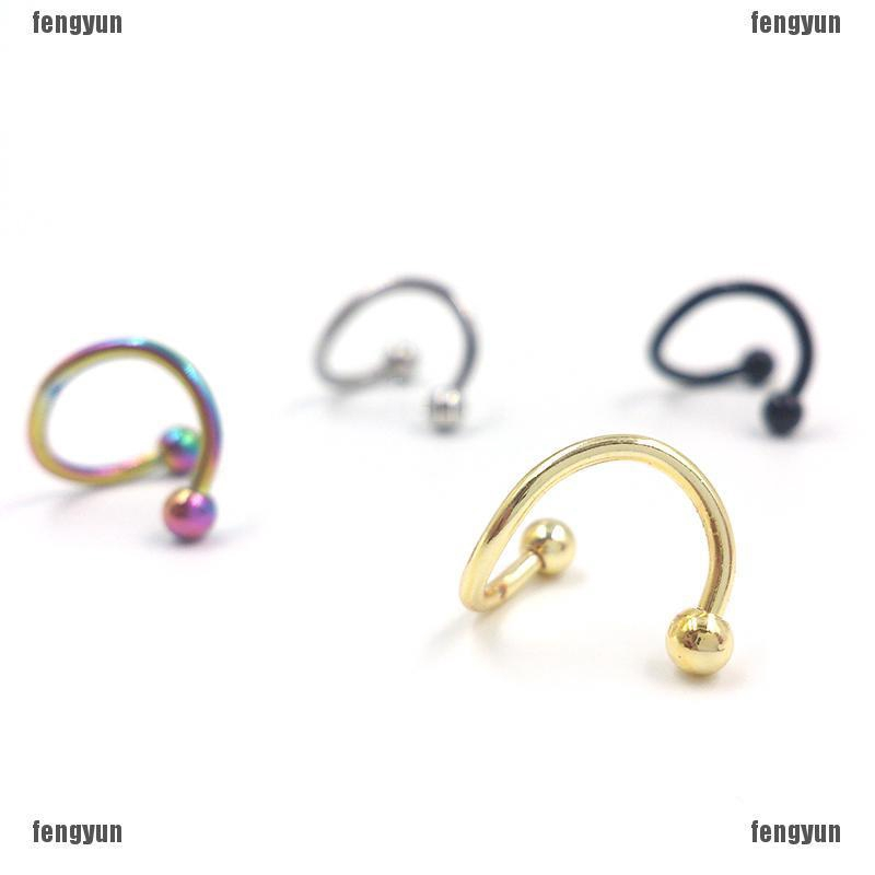 4pcs Stainless Steel Twist Nose Lip Eyebrow Cartilage Ring Earring Piercing A Pp