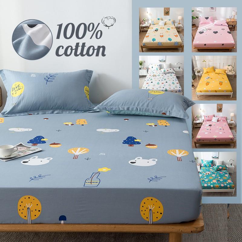 Cotton Fitted Sheet Cartoon Deer Bed, 100 Cotton Queen Bed Sheet Set