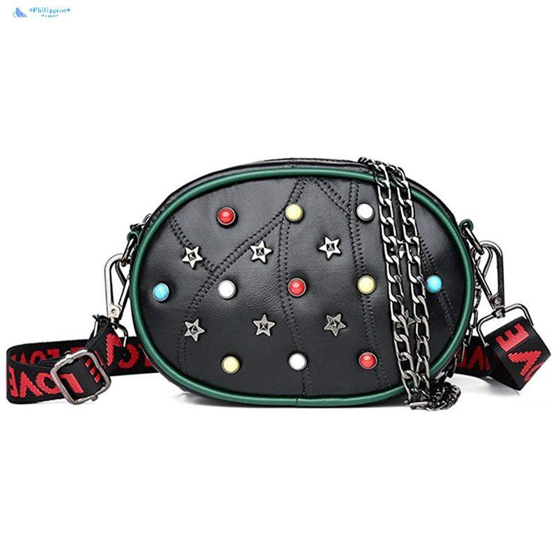 Women Rivet Waist Belt Bag Check Leather Fanny Pack Shoulder Chest Bag Latest