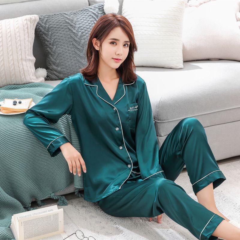 2pcs/set Couple Silk Pajamas Long Sleeve Thin Silk Sleepwear | Shopee  Philippines
