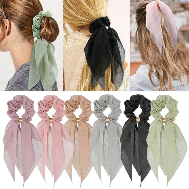 Women Chiffon Bow Ribbon Hair Ties Hair Rope Scrunchie Ponytail Hair Accessories