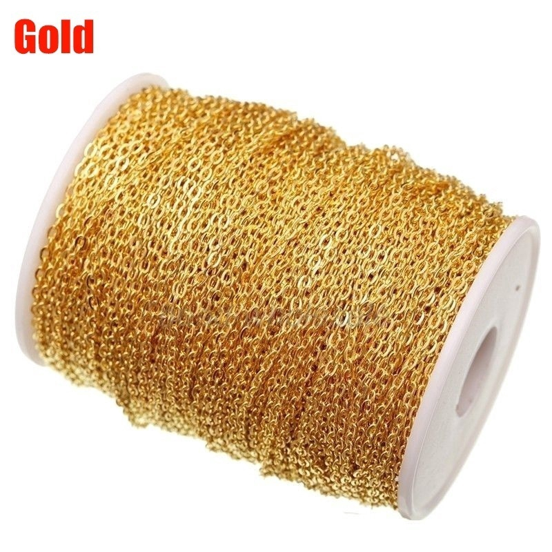 5Meters Silver Gold Plated Cable Open Link Iron Chain Findings Jewelry Making