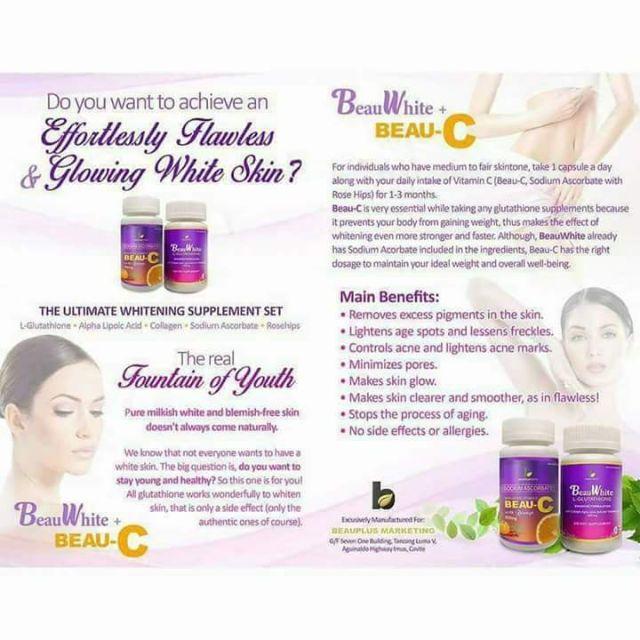 BEAU-C & BEAUWHITE L-GLUTATHIONE 30' | Shopee Philippines