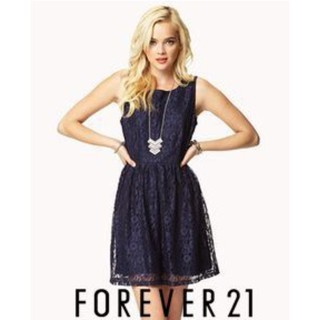 F21 Navy Blue Pleated Lace Dress