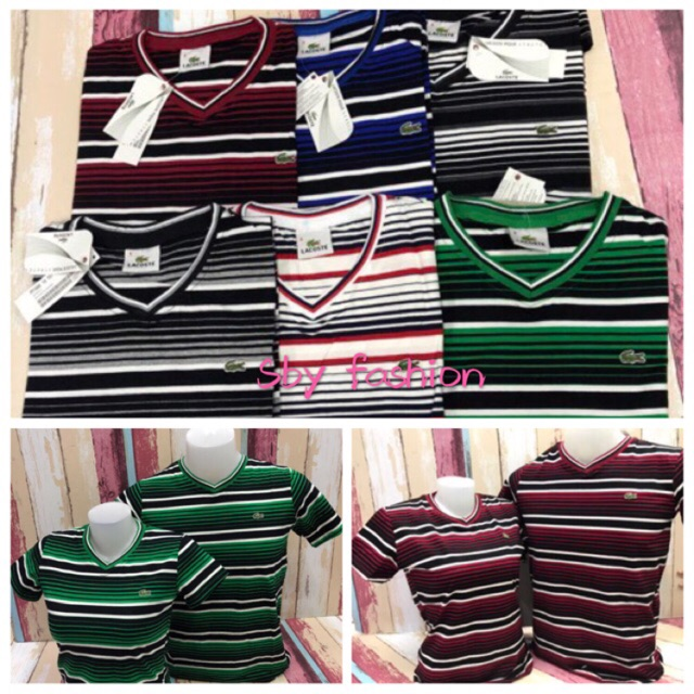 new design good service matching in colour Lacoste couple girls & boys v neck t shirt stripe p250 each