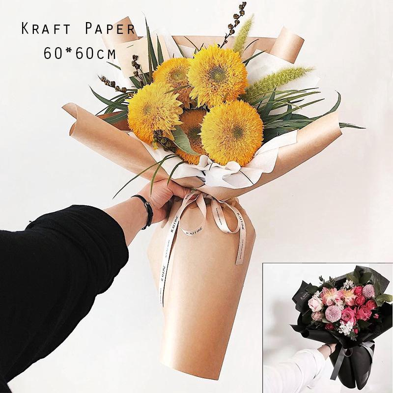 20pcs Kraft Paper Bouquet Flower Gift Wrapping Paper 60 60cm