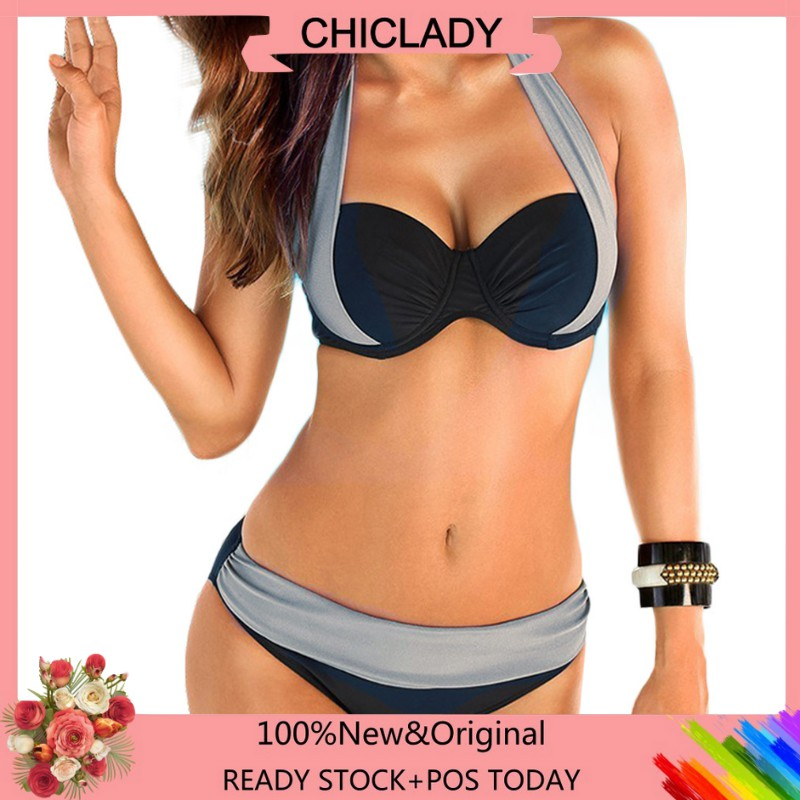49935d40806d COD【Best Quality!!】 Bikini Two Tone Halter Two Piece Bikini Swimsuit Padded  Suit