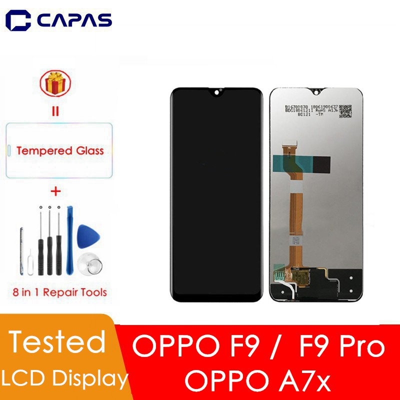 LCD Screen Mobile Phone and Digitizer Full Assembly for Oppo F9 Color : Black A7X Black