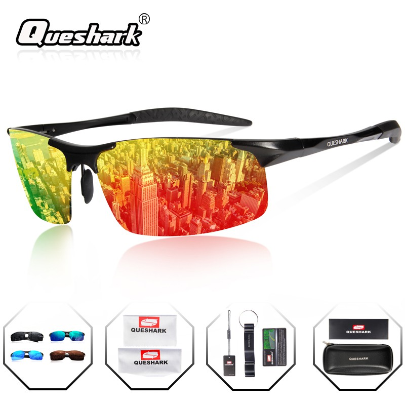 Queshark Professional Tr90 Frame Aluminum Magnesium Leg Polarized Cycling Sunglasses Outdoor Driving Night Vision Glasses Sports Accessories
