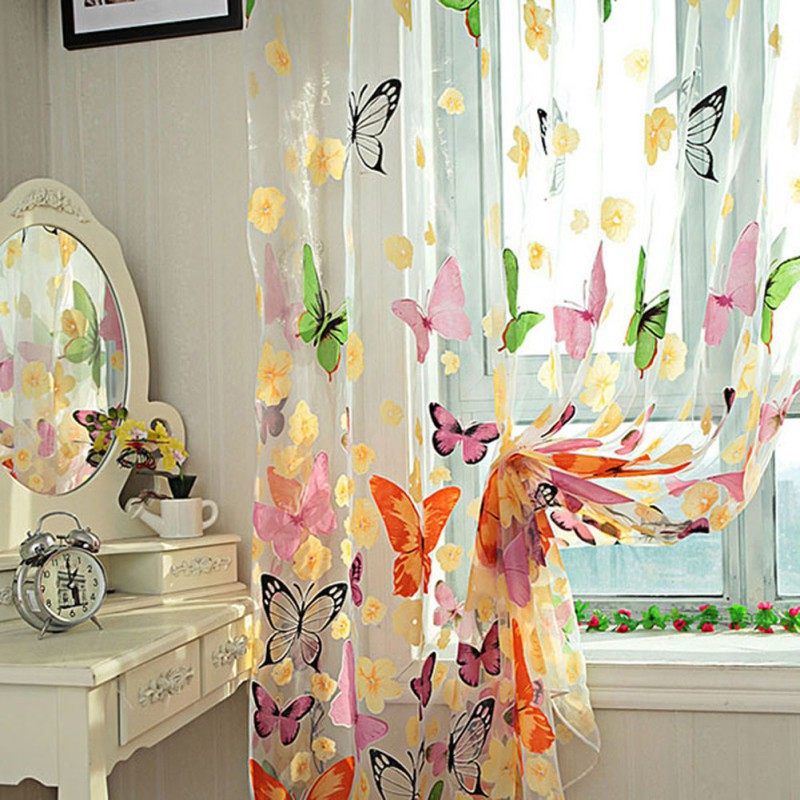 Butterfly Tulle Screens Sheer Voile Curtains